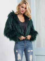 OneBling Plus Size Fluffy Faux Fur Hooded Short Jacket