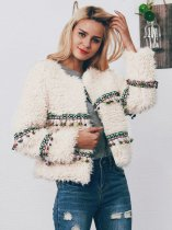 OneBling Plus Size Teddy Faux Fur Coat with Aztec Taping and Fringe