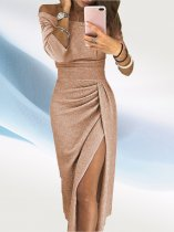 Off Shoulder Wrap Glitter Midi Dress with 3/4 Sleeves