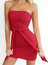 OneBling Tie Front Bandeau Bodycon Mini Dress