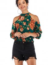 OneBling Cold Shoulder Chiffon Crop Tops with Shirred Trim In Flowers Print