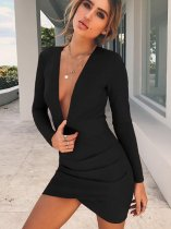 OneBling Open Back Deep Plunge Mini Dress with Wrap Detail