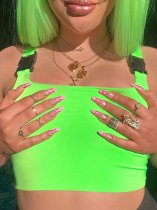 OneBling Neon Green Crop Tank Tops with Black Buckle