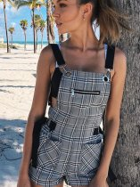 OneBling Check Playsuit with Adjust Strap and Metal Chain