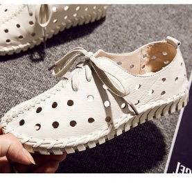 Genuine Leather Hollow Out Breathable Flat Shoes Spring Autumn Fashion Lace-Up Sewing Shoes Women Casual Sandals