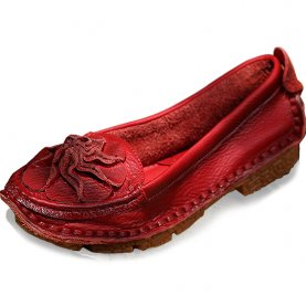 Loafers Spring Autumn Fashion Genuine Leather Flower Women Single Shoes Casual Flat Shoes Soft Slip-on