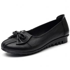 Genuine Leather Shoes Spring Autumn Fashion Bowknot Decoration Flat Shoes Slip-on Soft
