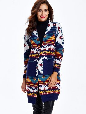 Open Front Double Pockets Cardigan Coats