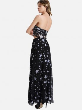 Chiffon Skirts Star Pattern Sets Bandeau Top and High Split Skirt