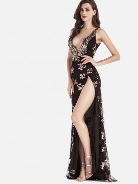 Sexy Deep V Sequins Embroidery Women Dress Side High Split Spaghetti Strap Dress
