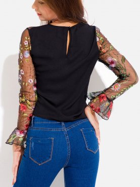 Sexy Mesh Sheer Floral Embroidery Women Long Sleeve Blouses