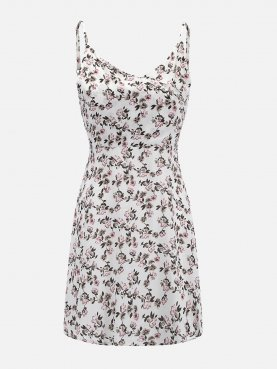 Open Back Calico Print Surplice Neckline Fit and Flare Dress
