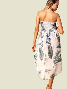 Two Ways Shirred Top High Low Hem Palm Leaf Print Bandeau Dress