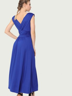 Sleeveless Ruched Detail Wide Waistband Maxi Wrap Dress