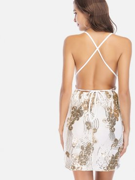 Cross Back Sequins Embroidery Mini Plunge Dress
