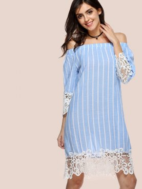 Crochet Lace Trim Off Shoulder Shift Dress In Striped with 3/4 Length Sleeves