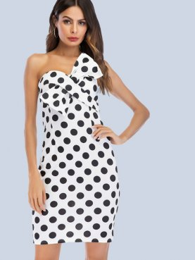 Fold Bowknot Front Polka Dot Sweetheart Bandeau Dress