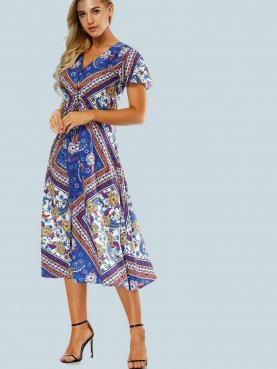 Flutter Sleeve Button Front Shirt Midi Dress with Ornate Print