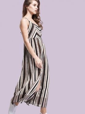 Srappy Back Chevron and Striped Print Maxi Cami Dress with Double Split