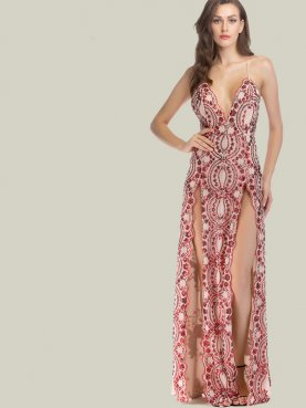 Scalloped Trim Cross Back Deep Plunge Maxi Dress with Sequins Embellishment and Double Split