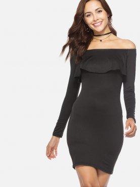 Long Sleeve Bodycon Mini Off Shoulder Dress with Ruffles