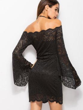 Scallop Trim Jacquard Lace Bardot Pencil Dress with Exaggerated Sleeve