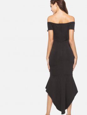 Asymmetric Ruffles Hem Plunge Front Off Shoulder Maxi Dress