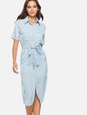 Slit Side Pocket Detail Tie Waist Shirt Dress