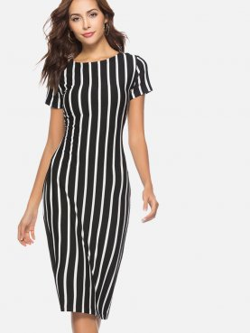 Short Sleeve Midi Pencil Dress In Striped Print