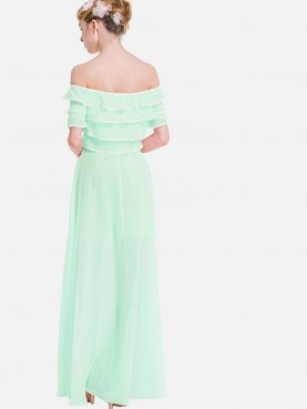 Plus Size Lace Trim Ruffles Layered Maxi Off Shoulder Dress