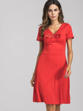 Ribbon Trim and Bowknot Short Sleeve V-Neck Midi Dress