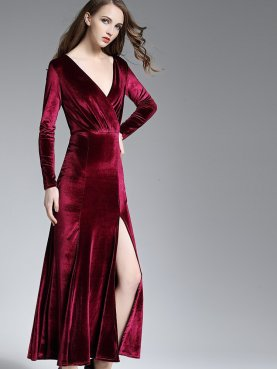 Plus Size Wrap Front Long Sleeve Split Fishtail  Velvet Maxi Dress