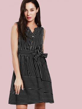 Button Front Mixed Striped Sleeveless Mini Dress with Belt