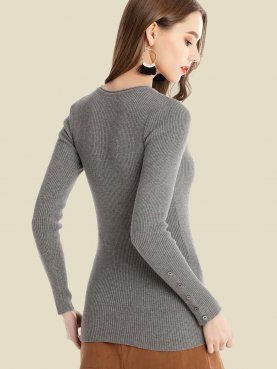 Scoop Neck Button Detail Sleeve Slim Fit Rib Knit Sweater