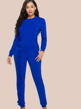 Frill Trim Slim Fit Tops and Skinny Pants Sets
