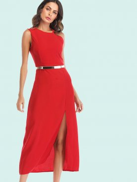 Asymmetric Shoulder Split Side Sleeveless Halter Dress