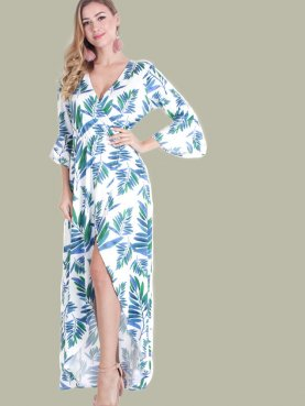 Fluted Sleeve Maxi Wrap Dress In Palm Leaf Print