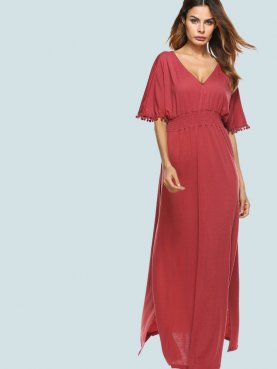 Pom Poms Detail Sleeve Slit Side Open Back Shirred Maxi Dress