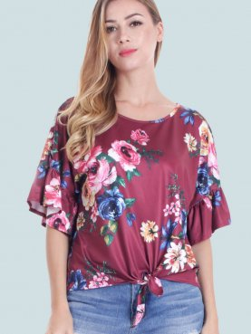 Tie Front Ruffles Sleeve Floral Print T-Shirt