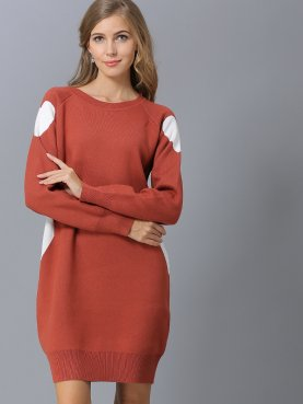 Ribbed Trim Heart Contrast Knit Dress with Raglan Sleeve