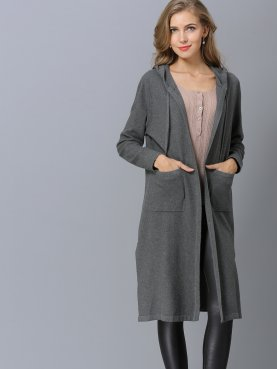 Dual Pockets Slit Side Hooded Knit Cardigan