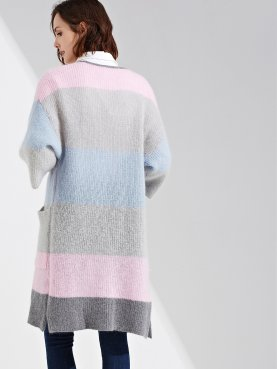 Longline Colour Block Open Front Cardigan with Pockets