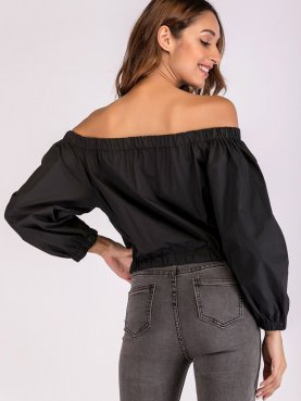Zip-Front Off Shoulder Crop Jacket In Black
