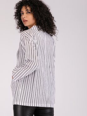 Dropped Shoulder Striped Coat with Patch Pockets