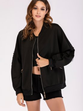 Sequins Wing Batwing Sleeve Jacket with Zip Pocket