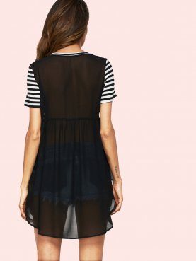 Sheer Chiffon Back Striped High Low T-Shirt