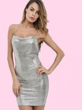 Sliver Metallic Mini Dress with Chain Straps