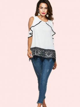 Lace Hem Open Shoulder Ruffles Sleeve T-Shirt with Contrast Binding