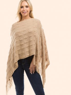 Textured Knitted Fringe Poncho Jumper