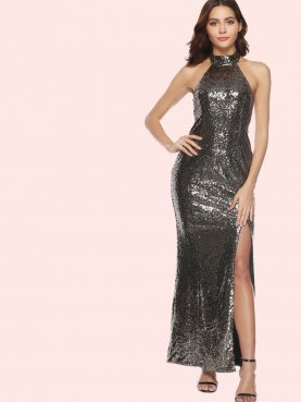 Open Back Split Side Maxi Halter Dress In Sequins
